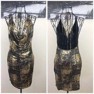 Halter Tie Metallic Dress